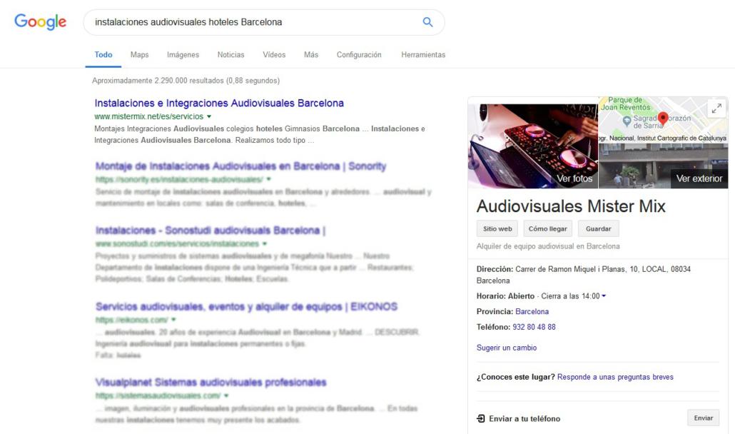 Captura de búsqueda de MisterMix