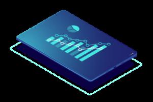 Imagen de una tablet con datos de analíticas