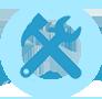 Icono de de herramientas con un martillo y una llave inglesa