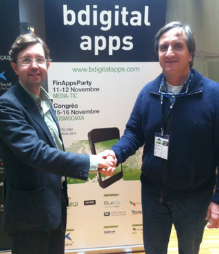 Antoni Biada de Einnova con David Prandi de clínica veterinaria Betulia.